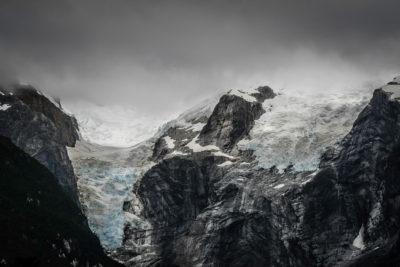 Valle de los Exploradores.  Gletscherausläufer des San Valentin, Blick auf den Gletscher San Valentin im Valle de los Exploradores