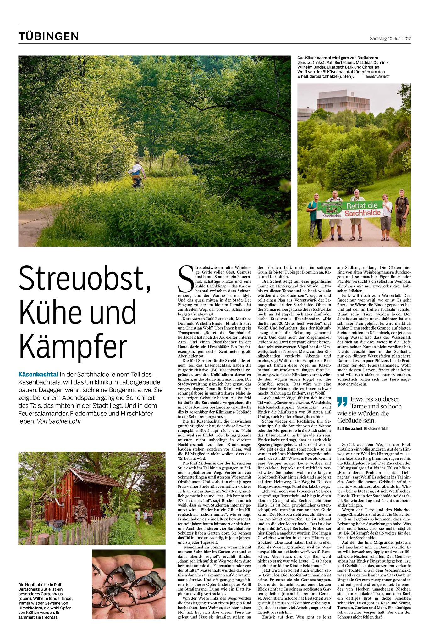 Reportage im Schwäbischen Tagblatt