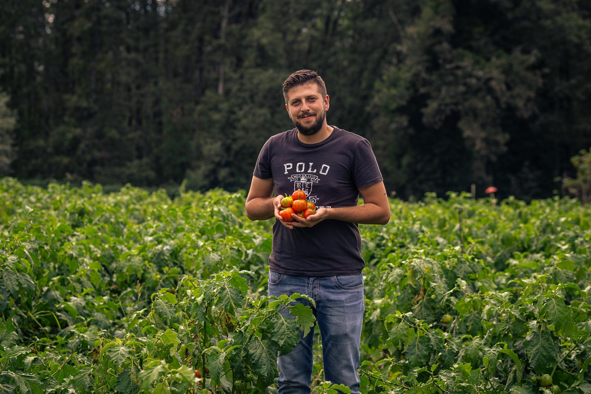 Landwirt Fortunato Caruso baut die Melanzana rossa di Rotonda an. Kalabrien.